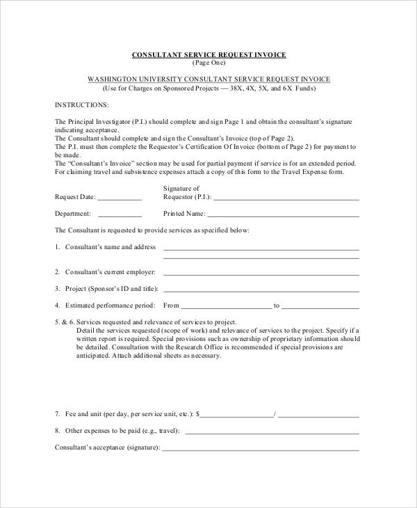 consultant service request invoice