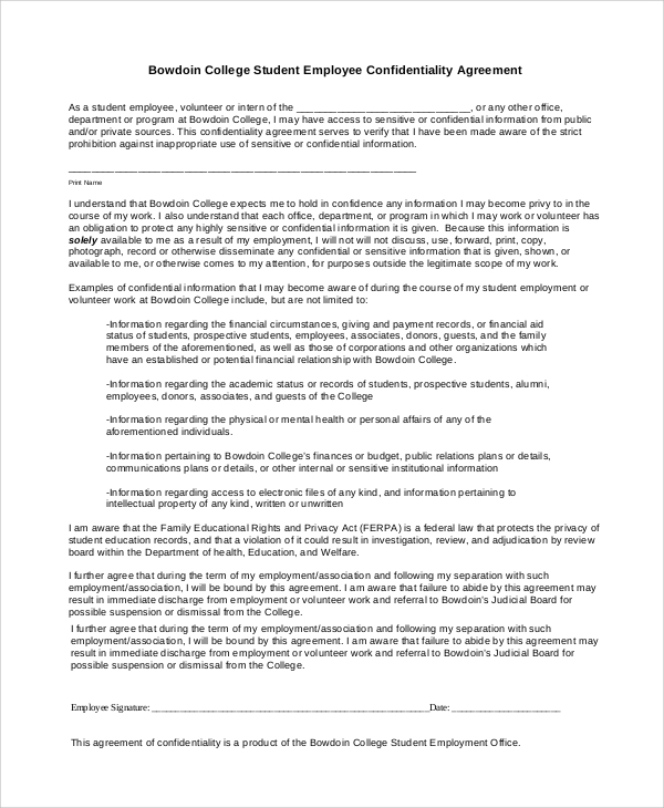Sample Financial Confidentiality Agreement - 6+ Documents In Pdf