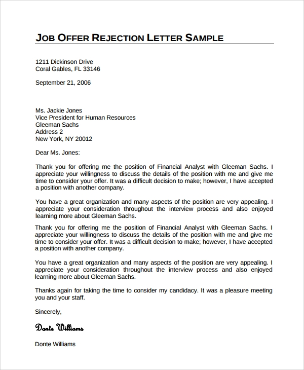 hr rejection letter