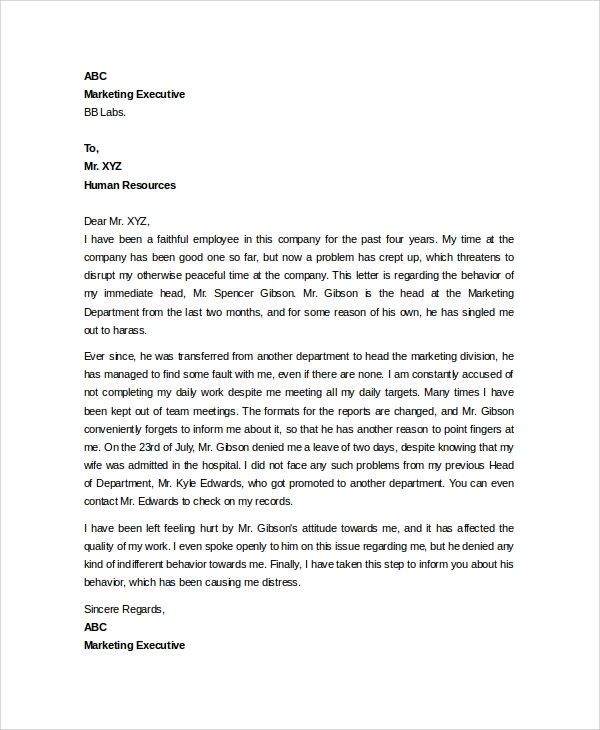 8 sample hr letters sample templates hr complaint letter spiritdancerdesigns Image collections