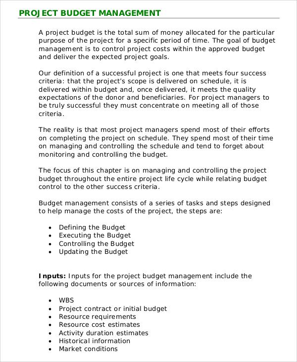 project budget management