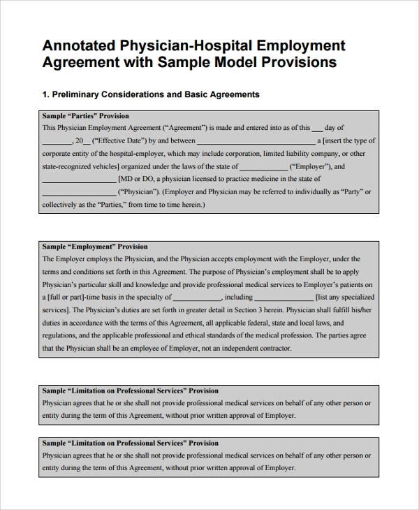 Sample Physician Employment Agreement   Documents In Pdf Word