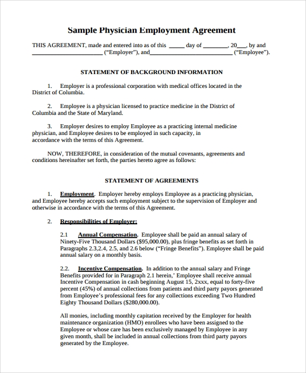 Free 7 Sample Physician Employment Agreement Templates In Pdf Ms Word