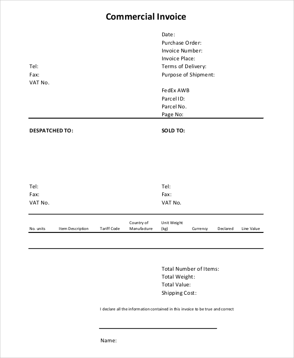 sample commercial invoice - 7+ documents in word, pdf, Invoice templates