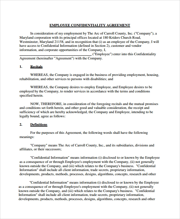 Doc460595 Sample Employee Confidentiality Agreement Employee – Medical Confidentiality Agreement