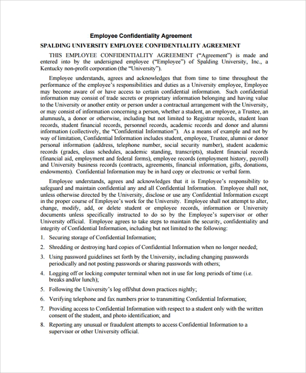 university employee confidentiality agreement