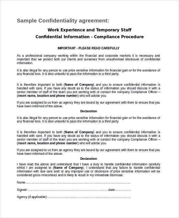temporary staff employee confidentiality agreement