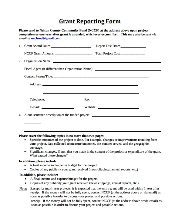 Sample Grant Report Form - 8+ Documents In Word, Pdf