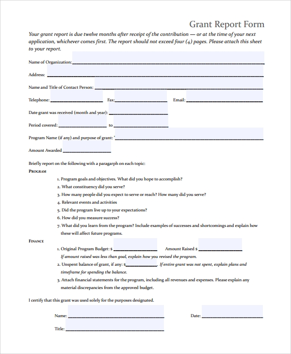 Sample Grant Report Form   Documents In Word Pdf