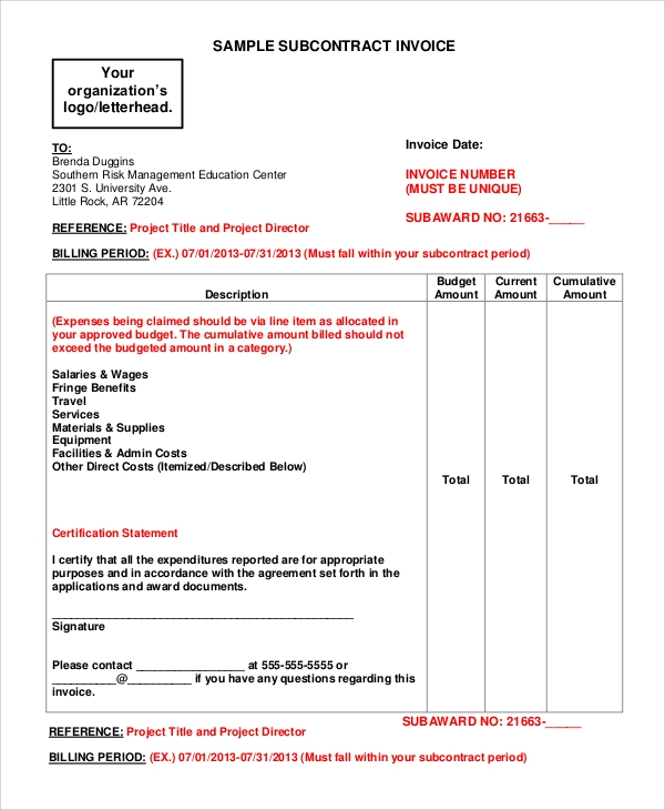 Subcontractor Invoice Template  Contract Invoice Template