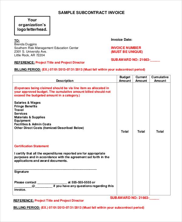 subcontractors invoice template  7  Sample Contractor Invoice Templates | Sample Templates