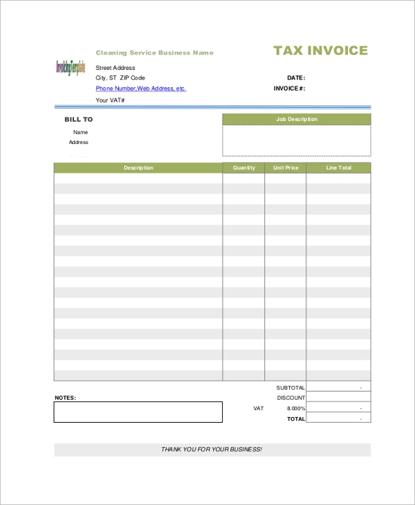 Sample Blank Invoice 7 Documents in PDF – Blank Service Invoice Template