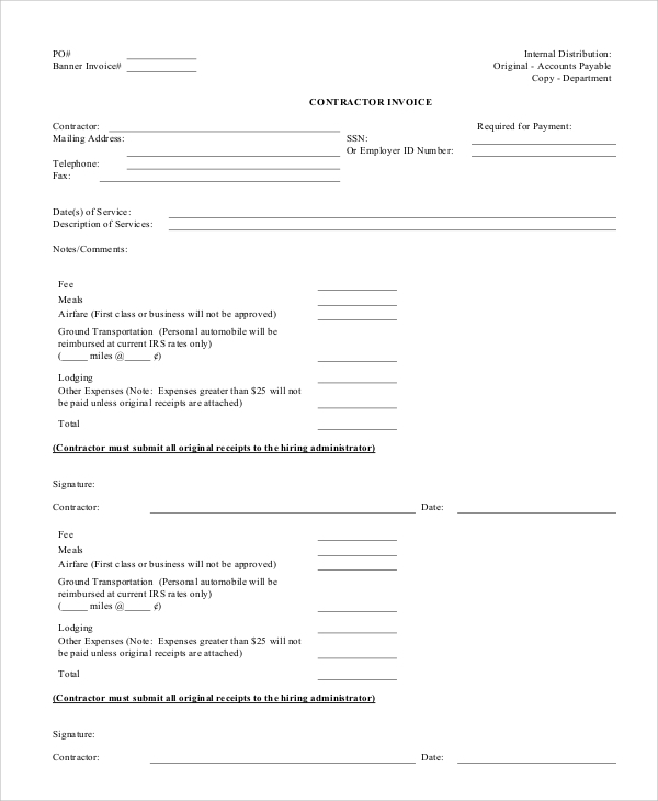 Sample Contractor Invoice Templates Sample Templates - It contractor invoice template