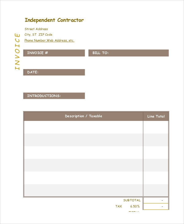 Sample Contractor Invoice - 6+ Documents in PDF