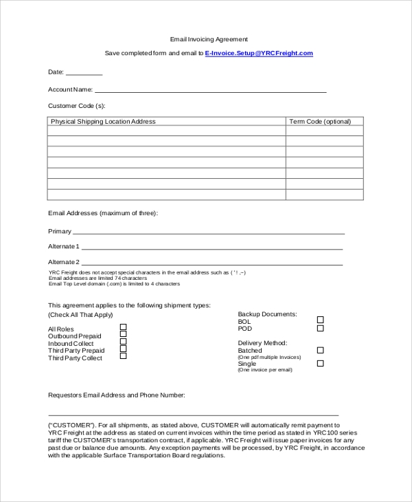 email freelance invoice agreement