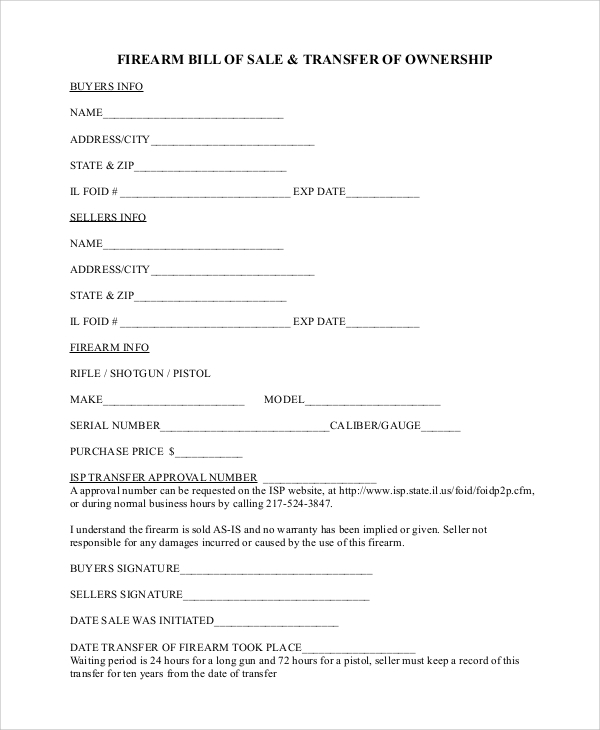 Sample Firearm Bill Of Sale   Documents In Pdf