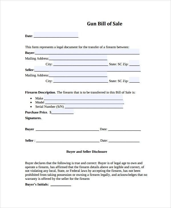 firearm gun bill of sale