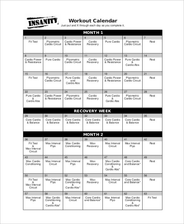 Workout Calendar Template Insanity Workout Calendar Sample Workout