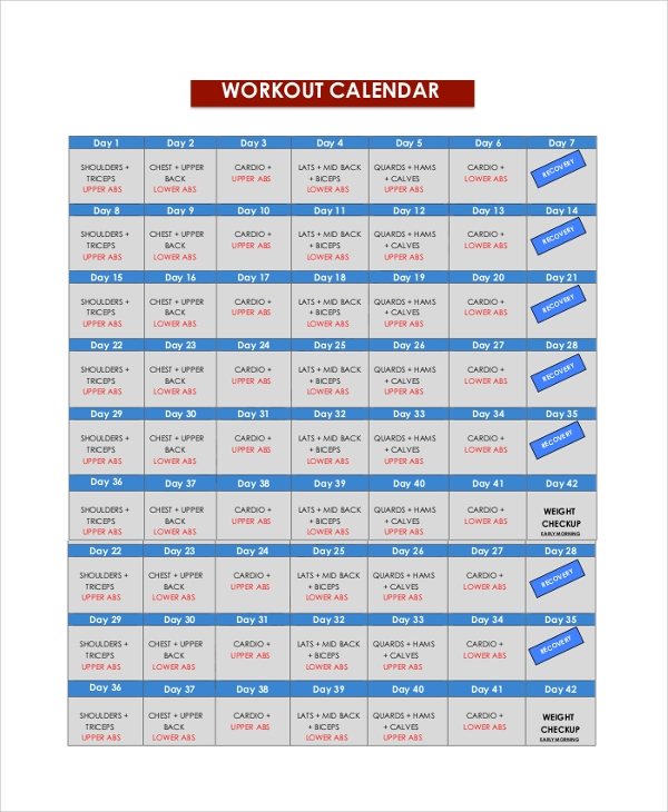 daily workout calendar