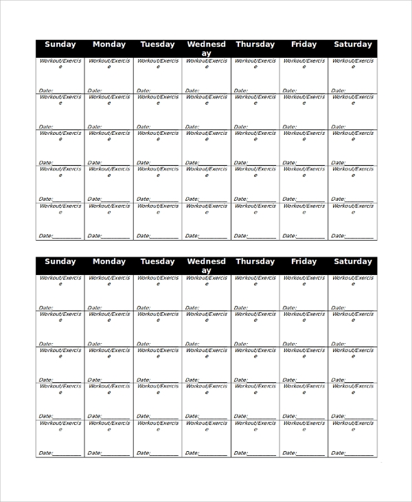 free 10  sample workout calendar templates in pdf