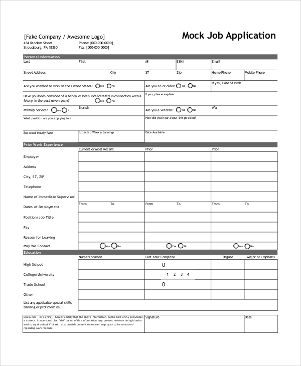 Sample Job Application Form   Documents In Word Pdf