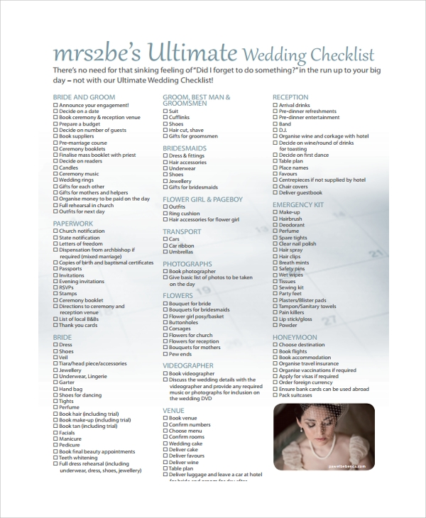 Sample Wedding Guest Planning   Documents In Pdf Word