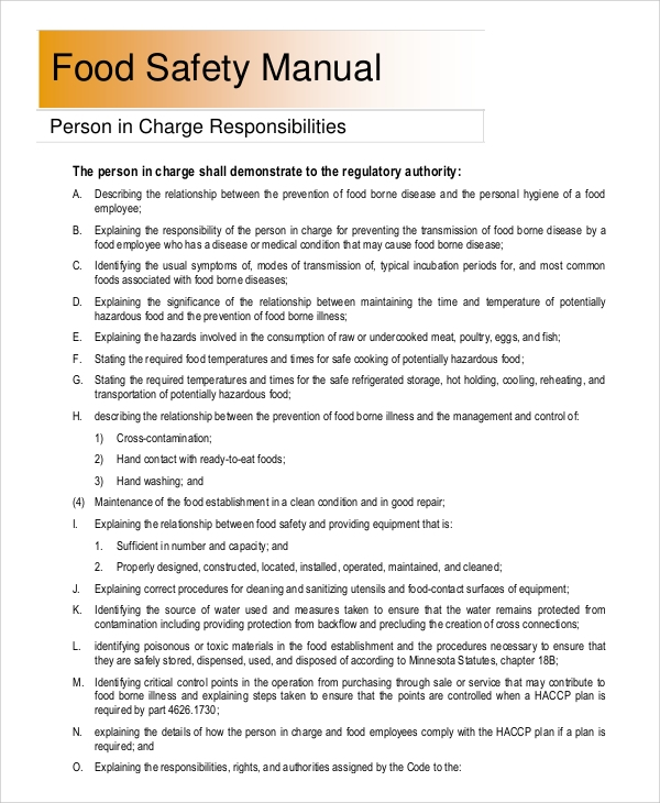 Food Safety Manual Template