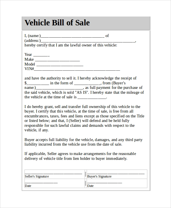 Sample Vehicle Bill Of Sale   Documents In Pdf Word