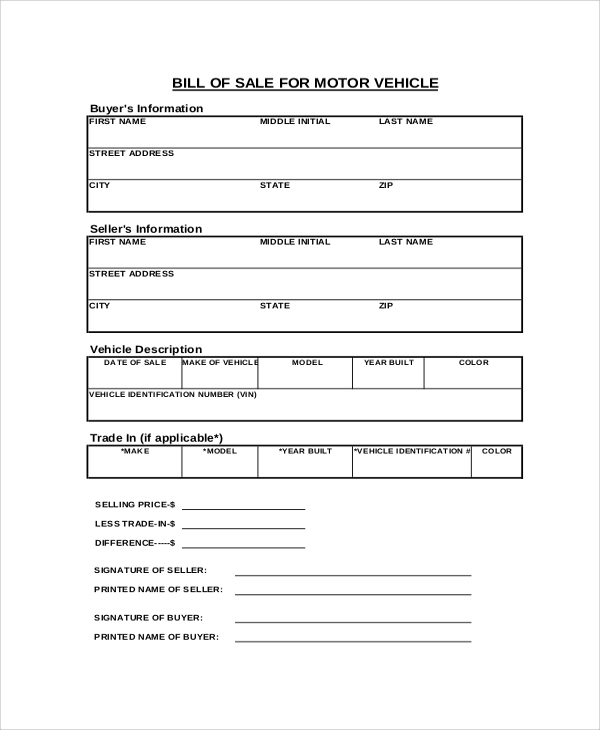 Sample Vehicle Bill Of Sale