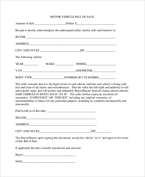vehicle formal bill of sale1