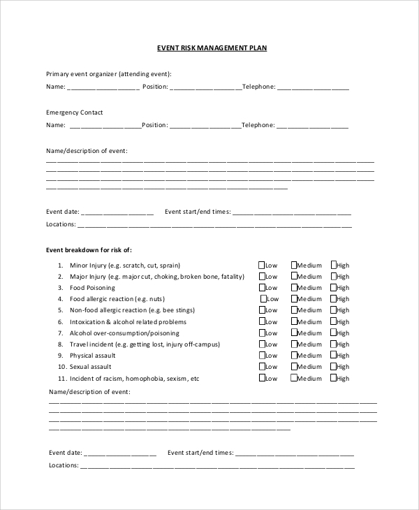 Risk Event Management Plan
