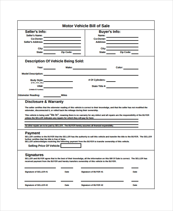 Sample generic bill of sale 7 documents in pdf word Motor vehicle bill of sale pdf
