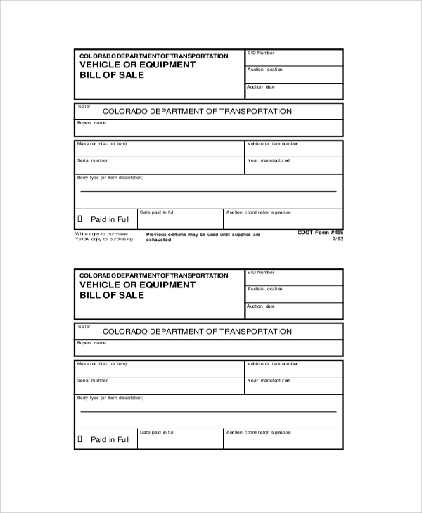 Sample Generic Bill Of Sale   Documents In Pdf Word