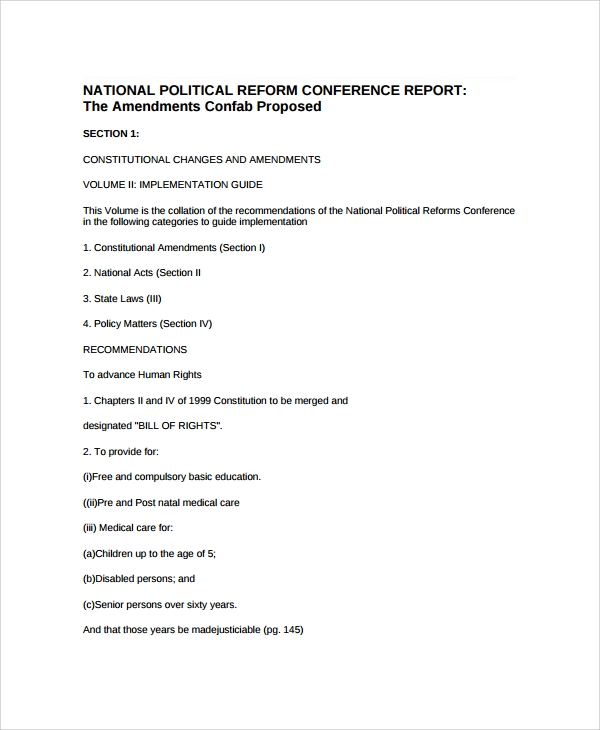 political reform conference report template