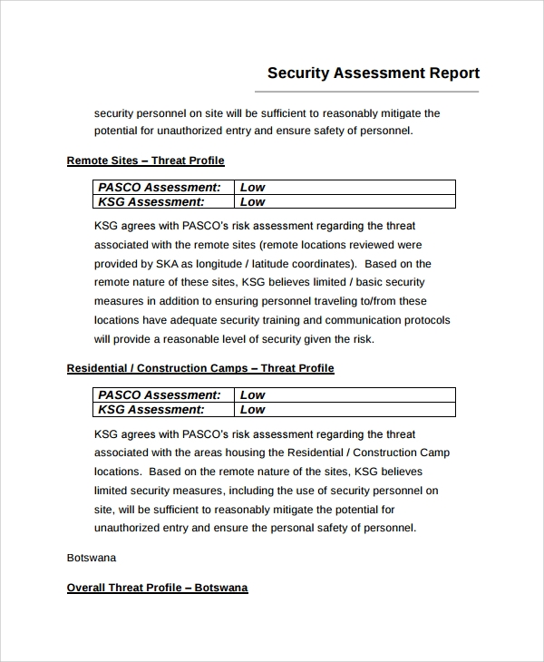 Sample Risk Assessment Report   Documents In Word Pdf