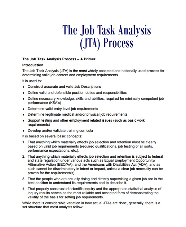 Sample Job Task Analysis 6 Documents in PDF Word