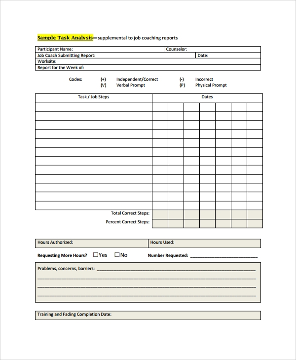 Sample Job Task Analysis 6 Documents in PDF Word – Report Analysis Template