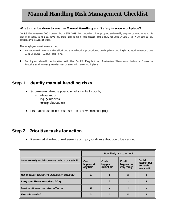 manual handling risk management checklist