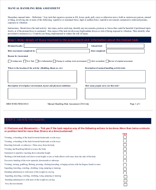 9 sample manual handling risk assessments sample templates