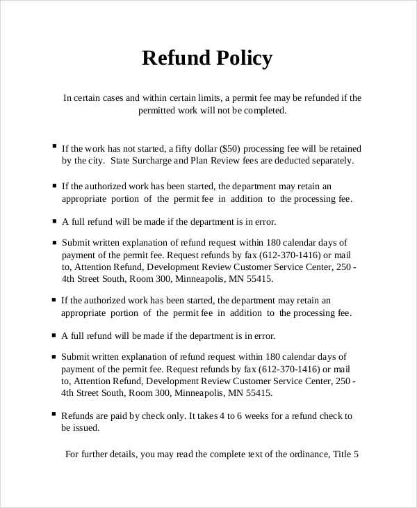 Sample Refund Policy   Documents In Word Pdf