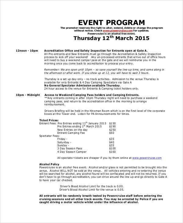 Sample Event Program   Documents In Pdf