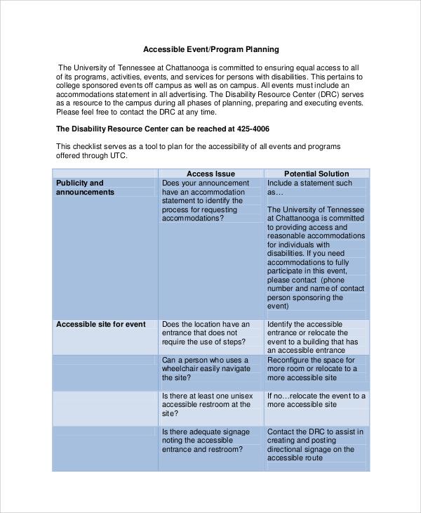 accessible event program
