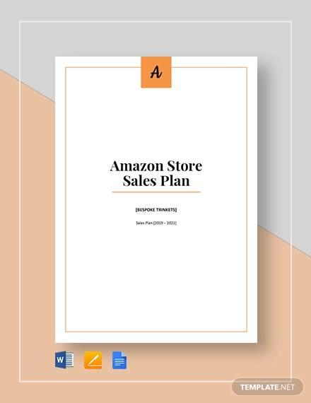 amazon store sales plan template