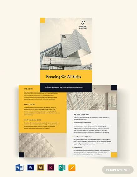 apartment condo property management bi fold brochure template