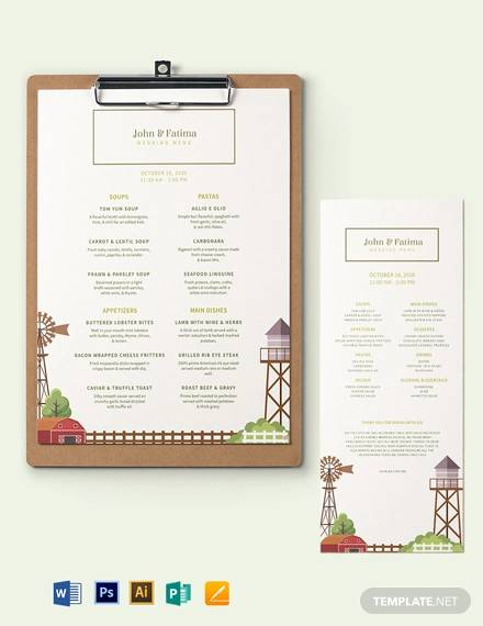 barn wedding menu template1