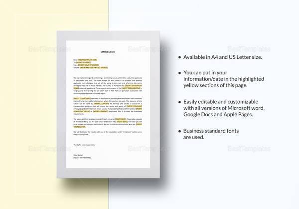 business memo format template