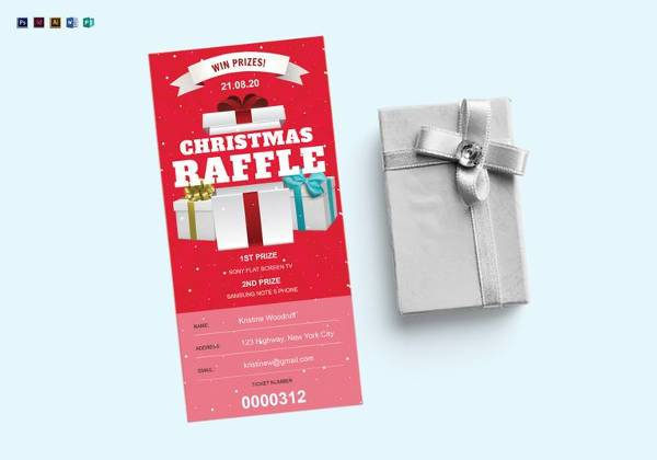 christmas raffle ticket template in psd