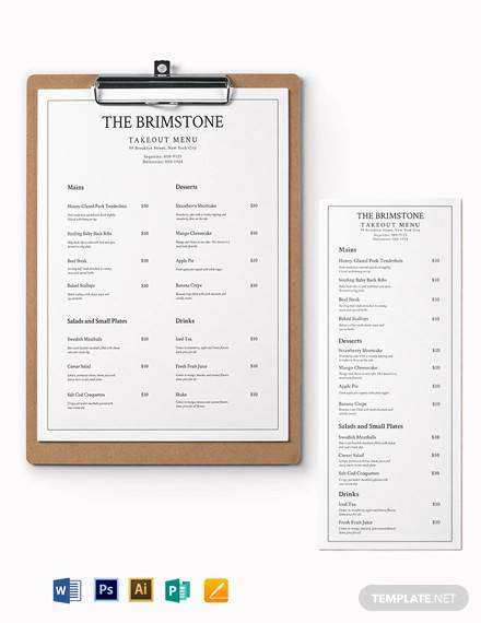 classy restaurant takeaway menu template