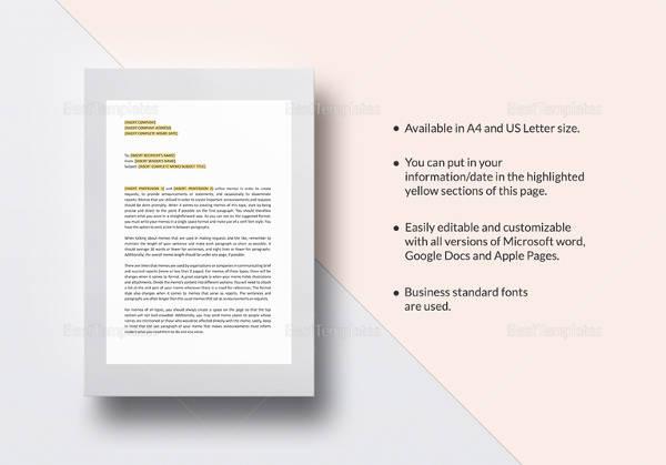 company memo sample template