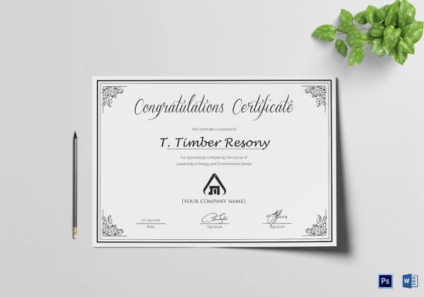 congratulation certificate template
